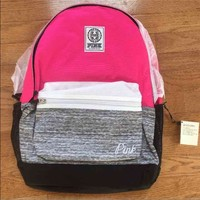NEW VS PINK pink gray campus back pack