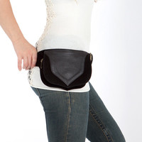 Black leather bag for women, festival wear, leather belt pouch, hip bag, utility belt