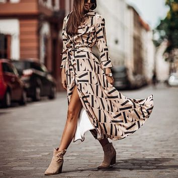 Sexy Women Dress Long Sleeve Printing Casual Vintage Party Dresses Sashes Turn Down Beach Dresses