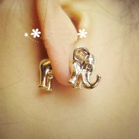 3D Elephant Single Ear Stud