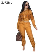 Letter Printed Casual 2 Piece Outfit For Women Turtleneck Long Sleeve Crop Top+Loose Pant Suits Autumn Winter Two Pcs Tracksuit