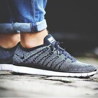 """""""NIKE"""" Trending Free Knit Fly Line Fashion casual sports shoes Dark Grey"""
