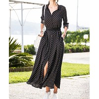New autumn and winter women's long-sleeved polka-dot dress