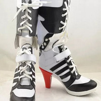 Batman Suicide Squad Harley Quinn  Boots Movie Cosplay Costumes Shoes High Heels Custom Made For Adult Women Halloween Party