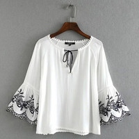 Vintage Embroidery Flower Flare Sleeve Pullover Shirt  Ethnic Women Stream V neck Drawstring Femme Loose Blouse Tops 3 color