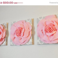 "MOTHERS DAY SALE Trio Wall Hanging -Light Pink Rose on Neutral Gray Tarika Print 12 x12"" Canvas Wall Art- Baby Nursery Wall Decor-"