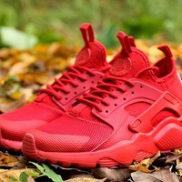 Best Online Sale Nike Air Huarache 4 Run Rainbow Ultra Breathe Women Men All Red Running Sport Casual Shoes Sneakers - 930