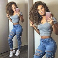 Blue Denim Fitted Ripped Skinny Jeans