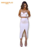 Sexy Strapless Two Pieces Dress Women Sleeveless Low Cut Club Tube Dress Bodycon Pencil Slit Vestidos Two Piece Dress