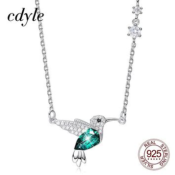 Cdyle Hummingbird with Green Crystal from Swarovski Silver 925 Necklace with Zircon for Mother Gifts Jewelry