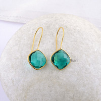 Teal Quartz Faceted Cushion Gemstone Gold Plated 925 Silver Dangle Earrings, 12mm - #1447