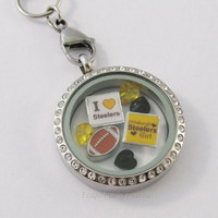 New NFL Pittsburgh Steelers Football Floating Charm Lot For Living Glass Lockets