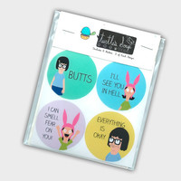 Funny Stickers - Tina Belcher Stickers - Louise Belcher Stickers - Bob's Burgers Stickers - Funny Gift