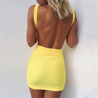 Sexy V-Neck  Backless Strap Tight Bodycon Mini Dress