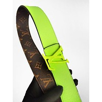 LV hot selling fashionable men's and women's printed two-sided patchwork belt LV print+Green
