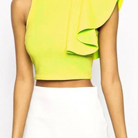 Yellow Sleeveless Ruffled Cropped Top