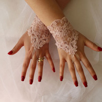 Wedding Gloves,Pink Lace Gloves , Bridal glove,Mittens,Bridal Lace Glove,Muffts,Costume Glove
