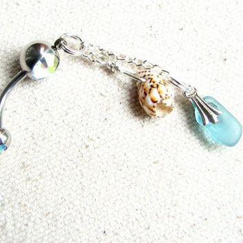 Seaglass Belly Button Ring - Dangle Navel Ring, Aqua Blue Sea Glass and Seashell Jewelry, Seaglass Belly Button Jewelry, Beach Glass Jewelry