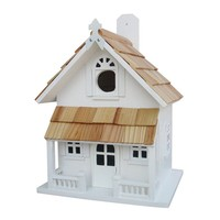 Home Bazaar Indoor / Outdoor Victorian Cottage Bird House (White)