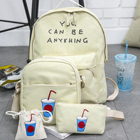 4PC Girls Boys Printing backpack school crossbody bags for women travel bags bookbag back pack kids purse bolso