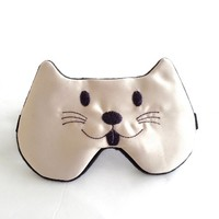 Embroidered Cat Sleep Mask for Women Men Kids Slumber Party Mask Cat Woman Mask Great for Party Travel Shift Work Beauty Sleep.