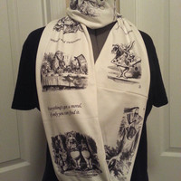Alice in Wonderland infinity KNIT scarf - made to order
