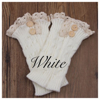 Lace Motif Button Accent White Boot Toppers, Boot Cuffs, Leg Warmers, Women's Accessories