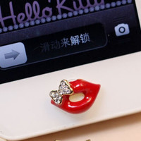 1 pcs  Bling Bowknot Red Lip iPhone Home Button by AppleCellphone