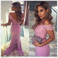 Lilac Off the Shoulder Long Prom Dress Bridesmaid Dress Custom Size 2 4 6 8 10