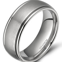 Silver Titanium Dome Brushed Matte Finish Grooved Edge Ring
