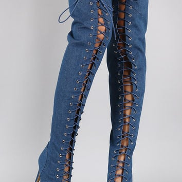 Denim Corset Lace Up Peep Toe Stiletto Over-The-Knee Boots
