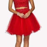 Two-Piece Appliqued Homecoming Short Dress Cold Shoulder Red