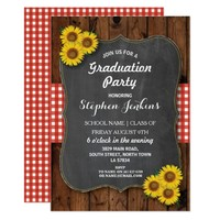 Sunflower Graduation Party Rustic Wood Invite
