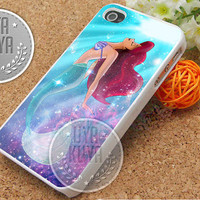 Little Mermaid Glitter Galaxy - iPhone 4/4s/5/5S/5C Case - Samsung Galaxy S2/S3/S4 Case - Black or White