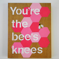 Hand painted wood sign, Quote art, Original acrylic painting on wood, geometric art, Pink White and Yellow 11 x 14