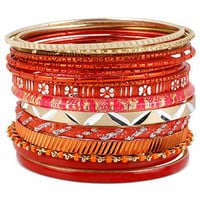 Haskell Bracelet Set, Gold-Tone Red Bangle Bracelets - All Fashion Jewelry - Jewelry & Watches - Macy's