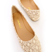 Gold Point Cute Casual Flats Crochet Glitter Fabric