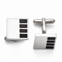 Men's Stainless Steel Polished Enameled Cuff Links - Engravable Gift Item