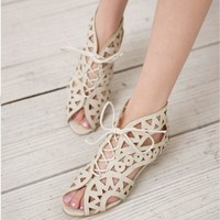 Big Size 31-43 Fashion Cutouts Lace Up Women Sandals Open Toe Low Wedges Bohemian Summer Shoes Beach shoes women AA516