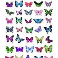 Cakeshop 40 x Mixed Colour Butterflies Edible Cake Toppers