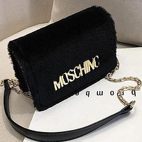 MOSCHINO Women Leather Plush Bag Shoulder Bag Crossbody Satchel