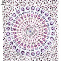 Amitus Exports ® 1 X Peacock Flower Circle White Purple Multi Color Twin Size Multi-purpose Handmade Tapestry 100% Cotton Fabric Hippy Indian Mandala Throws Bohemian Tapestries