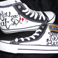 hand painted by granny grogs you me at six canvas high top boots