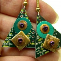 RECYCLED CIRCUIT BOARD Earrings Geekery Steampunk Jewelry | ThreeRingCircuits - Techcraft on ArtFire