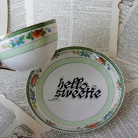 Green Hello Sweetie Teacup and Saucer