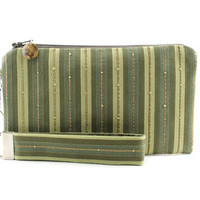 Sage green wristlet / striped clutch / small purse / zipper pouch & detachable key fob gift set for women in woven fabric