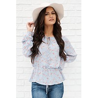 True To Myself Floral Blouse (Teal)