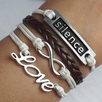 The ancient silver infinite love - Silence - leather woven bracelet