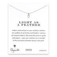 light as a feather, feather necklace, sterling silver
