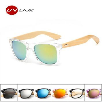 UVLAIK Wooden Legs Sunglasses Coating Mirrored Summer Travel Goggles Eyewear Vintage PC Wood Eyeglasses Men Women's Glasses